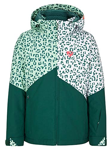 Ziener Mädchen Alani Junior Kinder Skijacke, Winterjacke | Wasserdicht, Winddicht, Warm, Spruce Green.White Leo, 164
