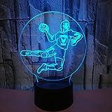 Luz nocturna 3D RGB visual LED 7 cambio de color Balonmano Poder Brithday Tienda familiar Ambiente romántico niños amigos regalos de vacaciones