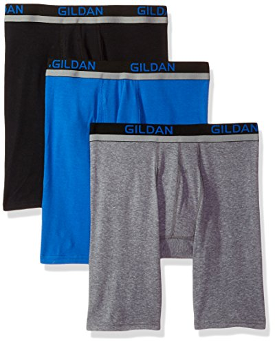 Gildan Men's Cotton Spandex Athletic Long Leg Boxer Briefs, 3-Pack, Black/Royal/Graphite Heather, Extra Large