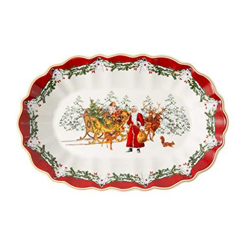 Villeroy & Boch - Toy's Fantasy Schale oval, Santa mit Schlitten, große Platte aus Premium Porzellan, 29 x 19 cm x 5.5 cm, bunt/rot/weiß