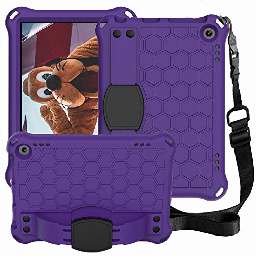 CLARKCAS Case for Amazon Kindle Fire HD8/HD8 PLUS, Kids Shockproof Heavy Duty Rugged Protection with Hand Shoulder Strap Kickstand Cover for Kindle Fire HD 8 10th Generation 2020 Tablet,Purple + Black