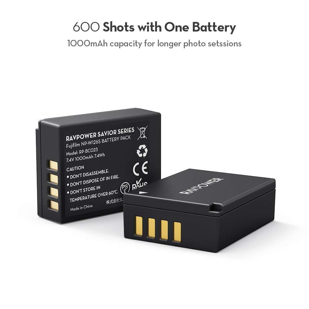 RAVPower NP-W126 batería de Repuesto para cámara (2 Unidades) y Cargador de batería para Fujifilm FinePix HS30EXR, HS35EXR, HS50EXR, X-A5, X-H1, X-A10, X-A1, X-E1, X-E2, X-M1, X-Pro1, X-T1 y más: Amazon.es: Electrónica