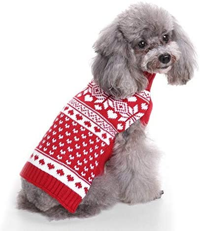 Dog Sweater Knitted Turtleneck Max 88% OFF Pet Clothes Red Same day shipping Cloth