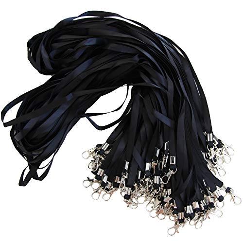 Lot de 50 tour de cou noir avec attache à clip métallique - Cordon de cou pour porte badge carte d'identification (Noir, 50)