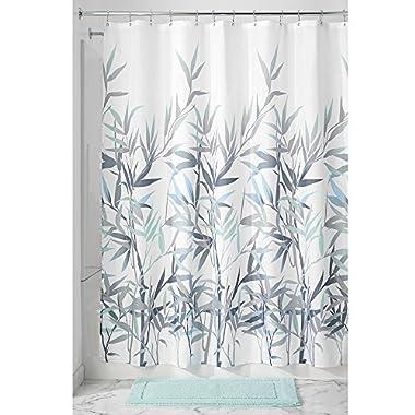 InterDesign 36525 Anzu Fabric Shower Curtain - Standard, 72  x 72 , Mint/Gray