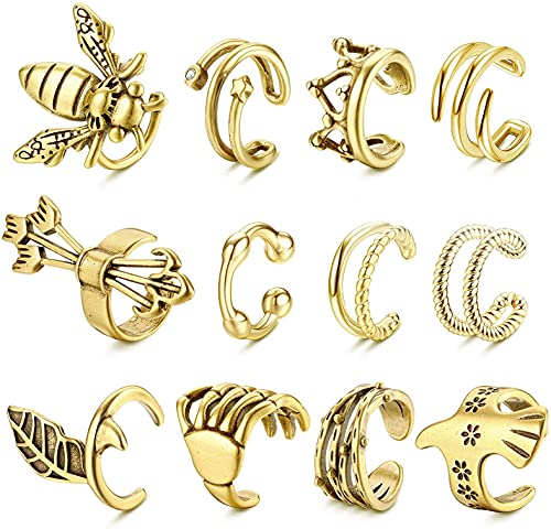 CASSIECA 12 Stück Ear Cuff Nicht Piercing Ohr Manschette Gold Clip Knorpel Allergie Verhindern Vintage Ohrringe Knorpel für Männer Damen