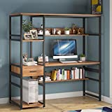 Tribesigns 59 Inches Computer Desk with 5 Storage Shelves and One Drawer, Rustic and Industrial Office Desk Study Table Writing Desk Workstation with Hutch Bookcase for Home Office