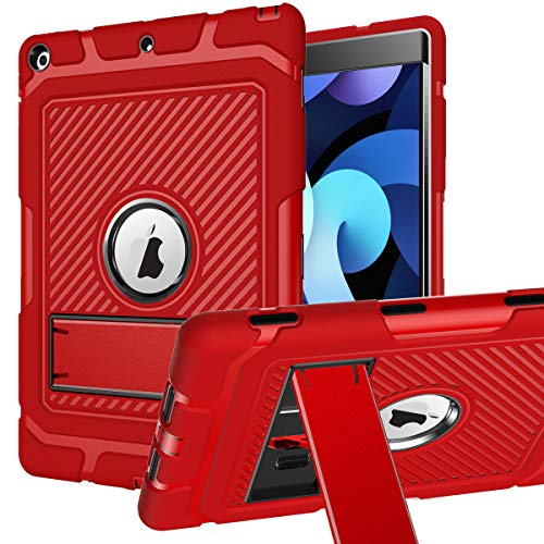UMIONE ipad 10.2 Case, 2020 ipad 8th Generation/2019 ipad 7th Generation Case, 3 Layers Heavy Duty Shockproof Rugged Drop Protection Cover with Kickstand for ipad 8/ipad 7-Red