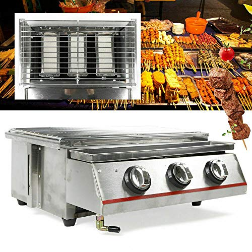 DIFU KDHARMR Commercial Gas Grill Outdoor 3 Burner BBQ Portable Barbecue Grill Cooker Tabletop Stainless Steel(US Stock) Grills Propane
