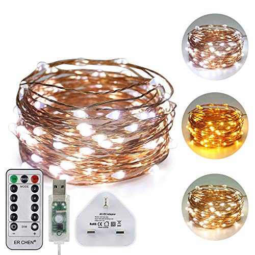 ErChen USB Dual-Color Led String Lights, 33FT 100 Leds Color Changing Dimmable 8 Modes Copper Wire Fairy Lights with Remote Timer for Indoor Outdoor Christmas (Warm White, White)