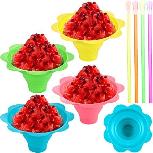 70 Pieces Flower Drip Cups and Spoon Straws Set, Includes 20 Pieces 4oz Colorful Leak Proof Small Bowls and 50 Plastic Spoon Straws