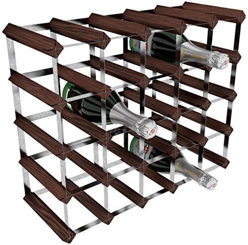 XMJ - Kit de Estante para Vino Tradicional de 25 Botellas, Pino de Caoba