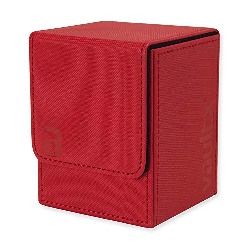 Vault X ® Premium eXo-Tec ® Deck Box - Large Size for 100+ Sleeved Cards - PVC Free Card Holder for TCG (Red)