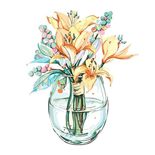 Wzjxzsynl Digitale canvas, olieverfschilderij om zelf te maken, voor cijfers, set Lily, in glazen fles voor kinderen, volwassenen, beginners, woonkamer, decoratie, cadeau voor feestjes