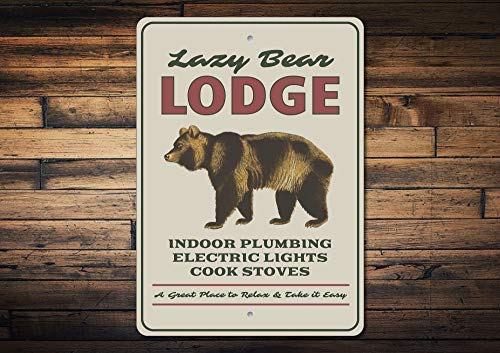 qidushop - Panneau Ours Lodge Décor Welcome Lodge Bear Lodge Décor Bear Lover Sign Ours Amoureux Cadeau Ours Décoration Murale en Métal Art Shop Man Cave Bar Garage