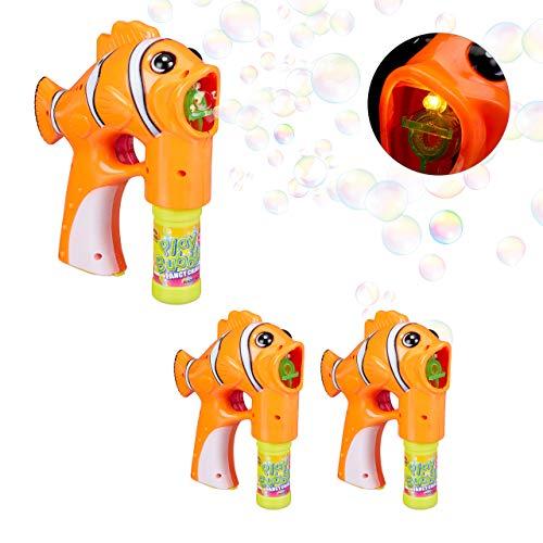 Relaxdays Pack 3 Pistolas Pompas Pez para Niños con LED, Plástico, Naranja, 18,5 x 7 x 18 cm
