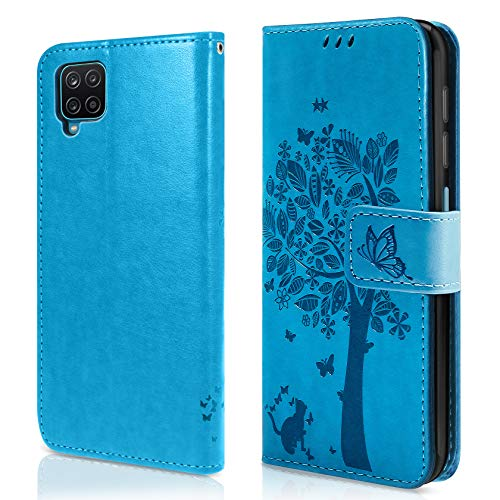 AROYI Funda Compatible con Samsung Galaxy S21 FE, Relieve Dibujo Carcasa Cuero Suave de la PU con Ranuras para Tarjetas Flip Funda Tipo Libro Soporte Plegable Magnético Carcasa Case - Azul