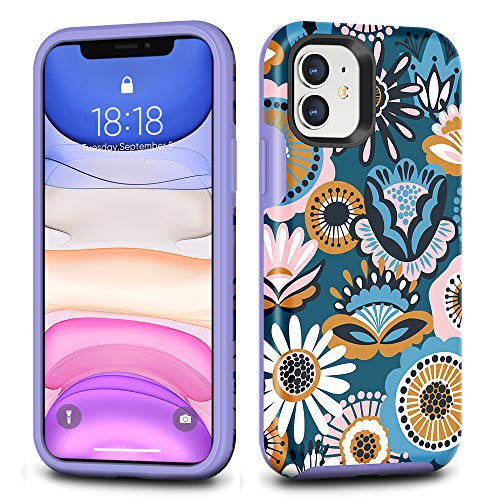 CAFEWICH iPhone 11 Case, Hybrid Shockproof Hard PC+ Soft TPE Rubber Double Protection, Full HD+ Graphics Stylish Slim Protective Cover for 2019 iPhone 11 6.1 Inch- Folk Flower