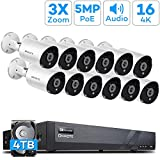 【Expandable Audio】 ONWOTE 16 Channel 4K H.265 NVR (12) 3X Optical Zoom Autofocus Audio PoE Security Camera System 4TB HDD, 2.8-8mm Motorized Lens Outdoor 5MP IP PoE Ethernet Security Camera, 130ft IR