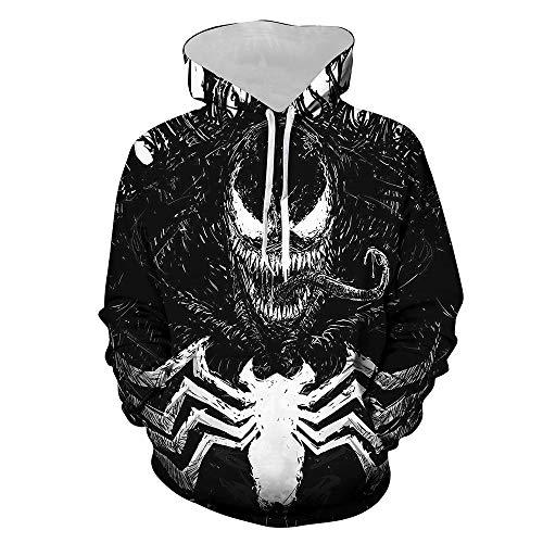 Wild WY Felpa con Cappuccio da Uomo Marvel Venom Felpa con Stampa 3D con Cerniera Sportiva B-M
