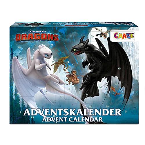 CRAZE DRAGONS 3 Calendrier de l'Avent Jouets 2021 Petits cadeaux Calendrier avent pour Enfants Figurine Dragons : Le Monde Caché 24645