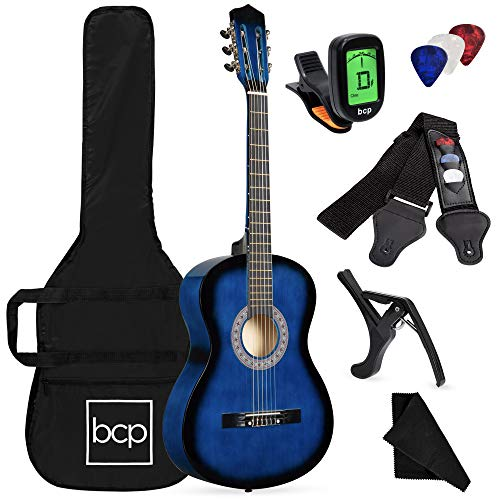 Best Choice Products 38in Beginner All Wood Acoustic Guitar Starter Kit w/Case, Strap, Digital Tuner, Pick, Strings - Blueburst
