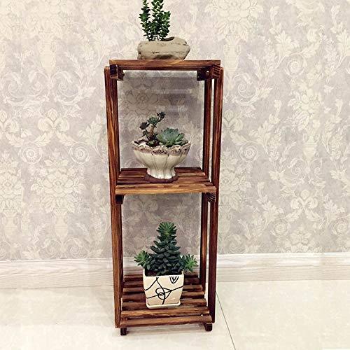 YINUO Salon Surface de bureau Mini porte-stylo Bambou Multi-fleurs Support à fleurs Rangement pour bureau Support à fleurs Multi-couche Creative Pot Rack Couleur carbonisée Taille: 25x70cm