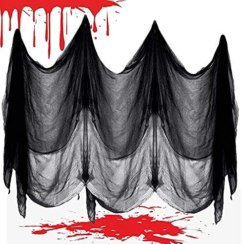 O-Kinee Halloween Deko Stoff 6M x 1.5M, Halloween Gruseliger Stoff, Halloween Tuch Schwarz,Halloween Dekostoff, für Halloween Haunted Hause Party Dekoration