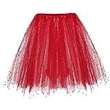 TIFIY Damen Tüllrock, 3 Lagiger Tutu kurzer Rock Elegant Mini Ballettrock Gaze kurzer Faltenrock(rot,One Size