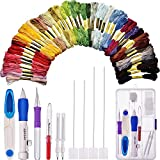 Magic Embroidery Pen, Embroidery Stitching Punch Needle Embroidery Kit Craft Tool Set Including 50 Color Threads for DIY Sewing Embroidery Cross Stitch Kits and Knitting Sewing Tool