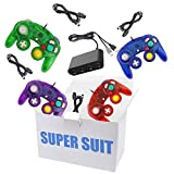 King Smart 4 Pack Gamecube Controller Bundle, with 4 Gamecube Extension Cables and 4-Port USB Adapter for Wii U/Switch/PC (Clear Blue Green Red Purple)