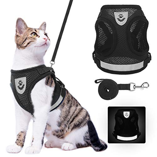 Cat Harness and Leash Set – Reflective Escape Proof Cat Harness for Kitties Daily Outdoor Walking with Soft Breathable…