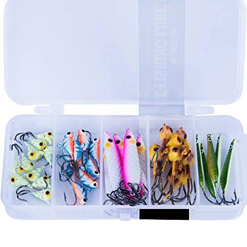 Goture Ice Fishing Jigs Tungsten Kit with Carbon Steel Hooks in Tackle Box, Winter Ice Fishing Lures for Bass Pike Trout Walleye Crappie, Trout, Panfish