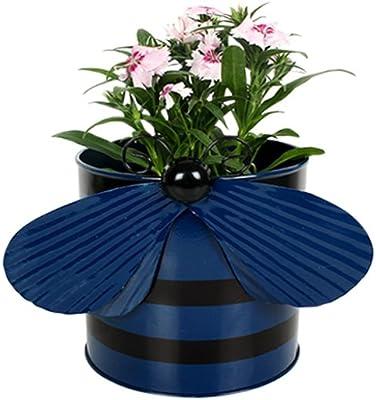 TrustBasket Metal Bee Planter (Blue)