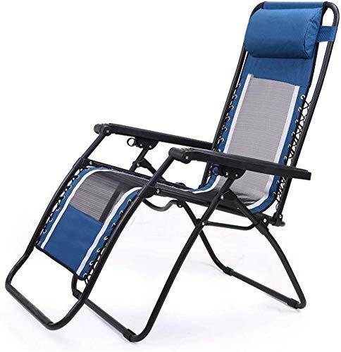 WJXBoos Sillas de jardín reclinables para Personas Pesadas Playa Camping Silla portátil Sillón de jardín Sillón de jardín Patio Soporte 200 kg (Color: Azul, Dimensiones: 69.5 * 52 * 37 cm)