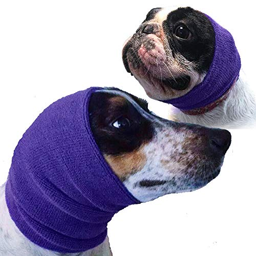 The Original Happy Hoodie for Dogs and Cats, The Grooming and Force Drying Miracle for Anxiety Relief, Calming Dogs - Purple 2 Pack (1 small, 1 large)