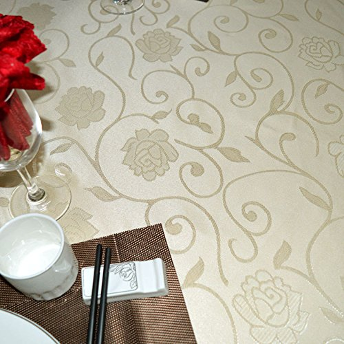 ZHFC hôtel table ronde du tissu european restaurant nappe nappe rouge content banquet table 160 * 120 cm 1,Du riz blanc,220cm cyclique