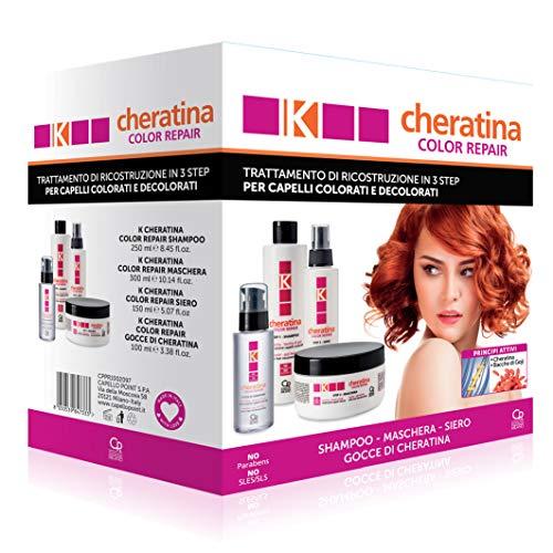 K-Cheratina - Trattamento Professionale Capelli Deboli e Sfibrati - Contiene lo Shampoo Ristrutturante, il Siero ad Azione Riempitiva, la Maschera Ricostruzione e la...