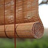Persianas Enrollables de Bambú Natural,Vertical Enrollar Aislante Térmico Protección Privacidad Cortina Filtrante de Luz,Retro Decoración Estor de Bambú para Exteriores/Interiores (100x160cm/39x63in)
