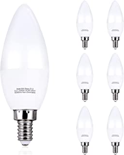 Comzler 6W Candelabra LED Bulb Frosted, Small Base E12 LED Bulb 60 Watts Equivalent, Indoor or Outdoor LED Candelabra Bulbs Daylight White 5000K, Pack of 6