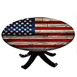Round Tablecloth with Elastic Edges, Wooden Planks Painted as United States Flag Patriotic Country Style, 4th of July Design, Fits Tables 58