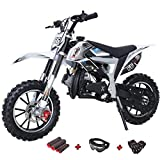 X-PRO Bolt 50cc Dirt Bike Gas Dirt Bike Kids Dirt Bikes Pit Bikes Youth Dirt Pitbike with Gloves, Goggle and Handgrip(Black)