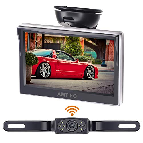 AMTIFO HD Wireless Backup Camera with 5 Inch Monitor License Plate...