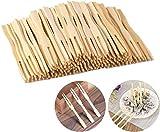 LING LAN 100 tenedores desechables de bambú para frutas 100% bambú natural biodegradable para...