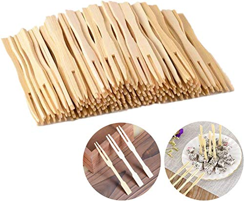 LING LAN 100 tenedores desechables de bambú para frutas 100% bambú natural biodegradable para fiestas, banquetes, bufés,...