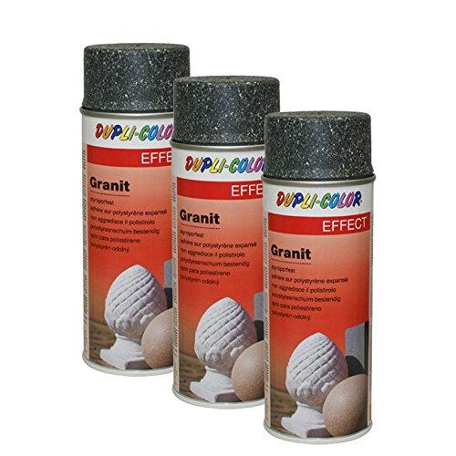 3X DUPLI-Color Granit Spray Grey INNEN AUSSEN Schutz WETTERFEST METTAL Glas 200