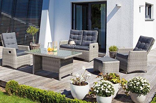 Sonnenpartner Loungegruppe Roseville von Sunny SMART, Poly-Rattan Grey-White, Lounge für 4 Personen, graue Garten Sitzgruppe inkl. Polster Kissen