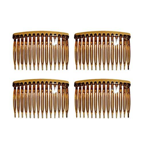 Yicare Lot de 4 peignes à cheveux 14 dents en plastique transparent 4,5 x 7 cm