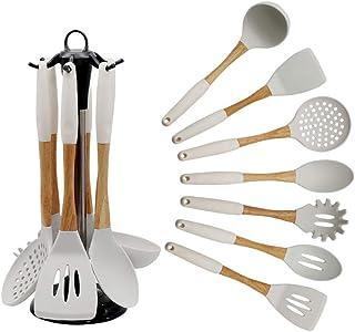 Geekcook Kit Cuisine,Ensemble d'ustensiles de Cuisine en Silicone avec Manche en Bois Cuillère de Cuisine de 7 pièces pour...