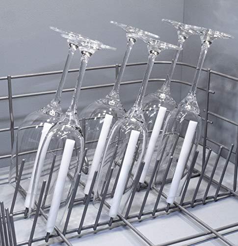 spiked-glasses Glashalter für Spülmaschine - Sektparty 6er Set - Kurze Aufsteckhalter Halterung für Geschirrkorb Glas Gläser - formstabil und kratzfrei